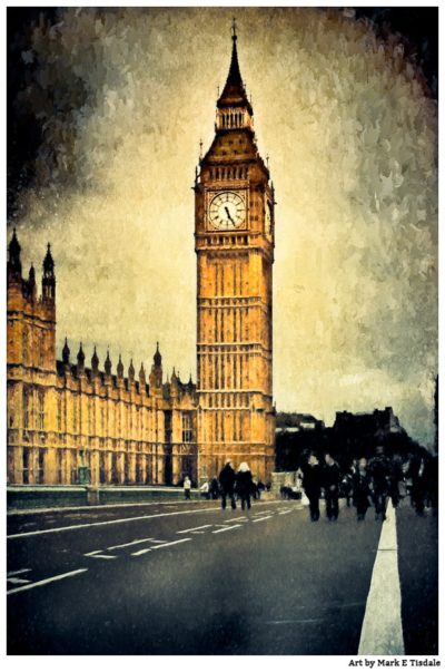 London's Big Ben - Vintage Gothic Revival architecture Print by Mark Tisdale