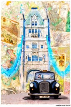 Classic Black Cab on Tower Bridge in London - Print by Mark Tisdale