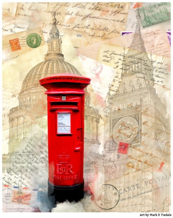 Classic Red British Post-box in London - Print by Mark Tisdale