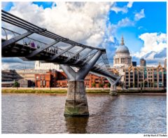 London Millennium Bridge And St Paul's Cathedral Over The Thames - Print by Mark Tisdale