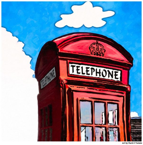 Whimsical British Phone Booth in London - Square Format print by Mark Tisdale