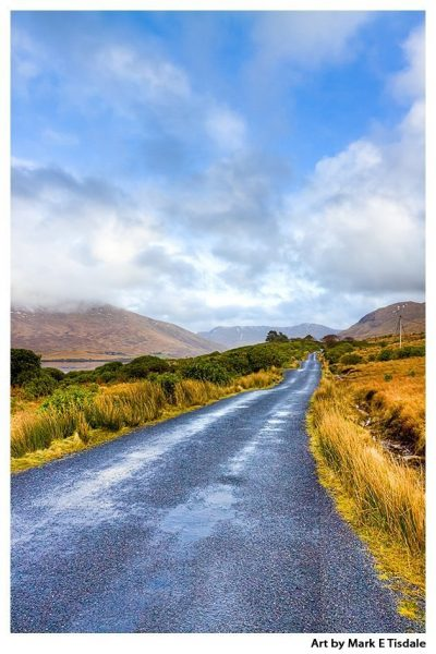 Lonesome Road in the Irish Countryside - Connemara Ireland Landscape Print by Mark Tisdale