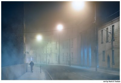 Foggy Night in Galway Ireland - Surreal Fog Print by Mark Tisdale