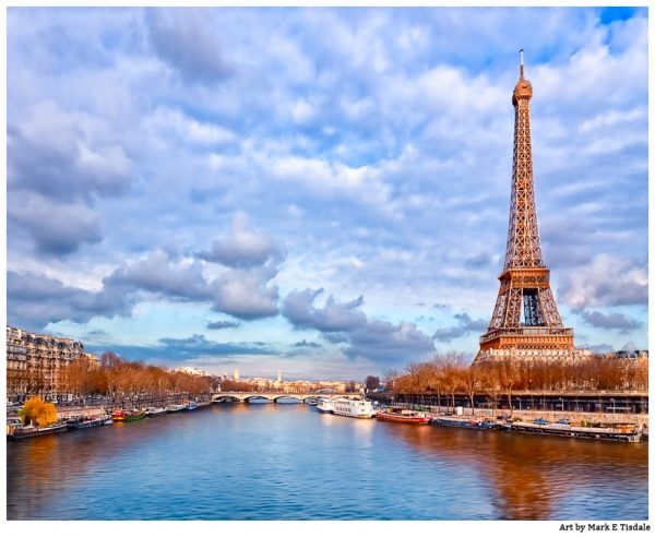 Eiffel Tower On the Banks of the Seine - Majestic Paris Print by Mark Tisdale