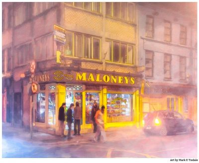 Maloney's Corner Shop - Foggy Galway print by Mark Tisdale