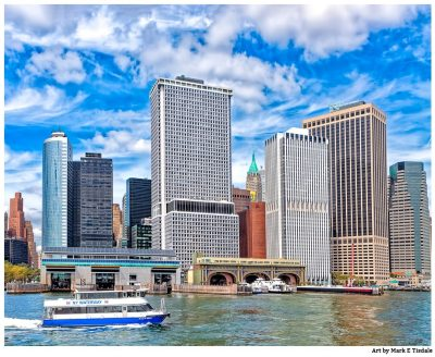 Manhattan East River Ferry Terminals And The Skyline - Print by Mark Tisdale
