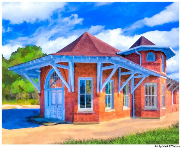 Marshallville depot - Georgia Print by Mark Tisdale - Queen Anne Style Railroad Depot
