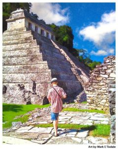 Mayan Adventure Art Print - Palenque Ruins print by Mark Tisdale