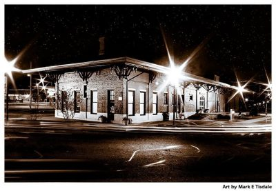 Montezuma Depot at Night Print by local artist Mark Tidale - Rural Georgia