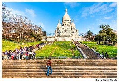 The hill in Montmartre, Paris - Sacré Coeur Basilica at the top - Print by Mark Tisdale