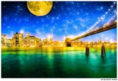Manhattan Skyline with a starry Night motif - Print by Mark Tisdale