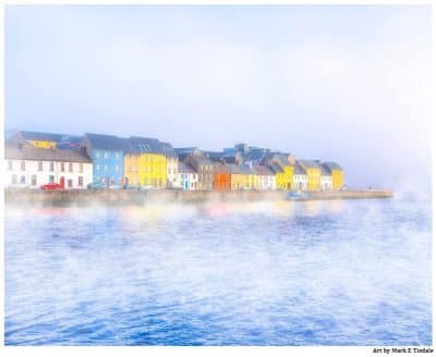 Galway Waterfront in a thick morning fog Print by Mark Tisdale