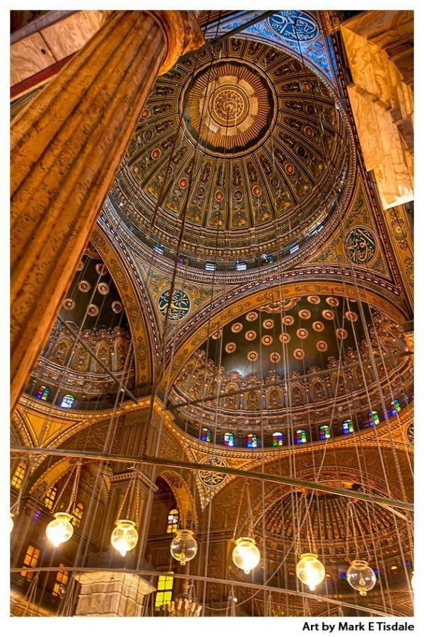 Interior of the Mosque Domes of Muhammad Ali Pasha in Cairo's Citadel - Print by Mark Tisdale