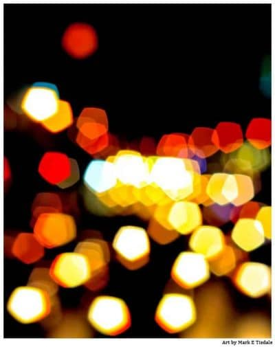 Abstract art print of the city lights of Manhattan at night by Mark Tisdale