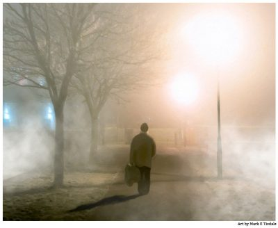 Old man walking on the Claddagh on a foggy night in Galway Ireland - Print by Mark Tisdale