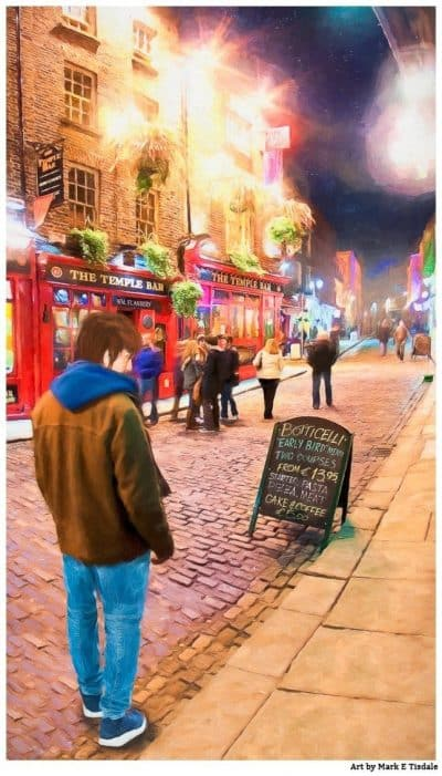 Night Out In Temple Bar - Dublin Pub Print by Mark Tisdale