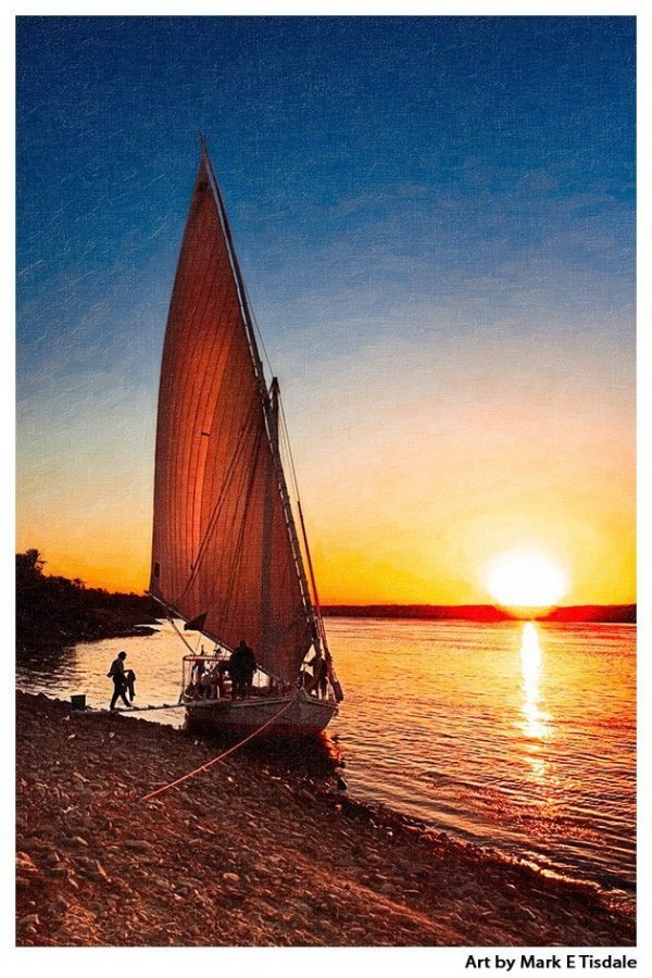 Nile Sunset Print by Mark Tisdale - Egyptian Felucca on the Riverbanks