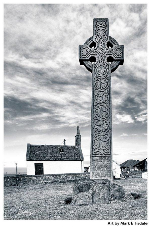 Celtic Cross Black and White print by Mark TIsdale - North Berwick Scotland