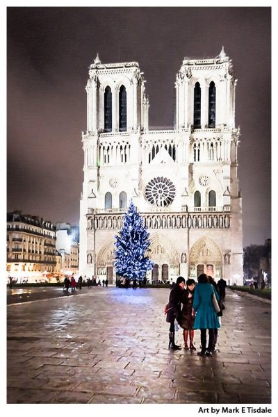 Notre Dame Cathedral At Night - Paris After Dark - Print by Mark Tisdale