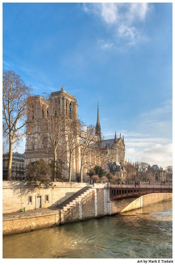 Notre Dame de Paris rising Above the Seine on a sunny day - Print by Mark Tisdale