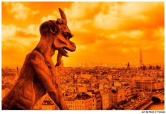 Notre Dame Gargoyle on the Paris Skyline - Print by Mark Tisdale