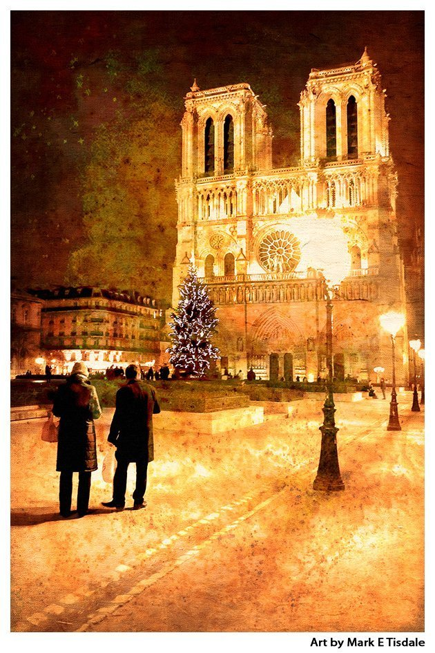 Notre Dame By Lamplight Paris At Night Art Print By Mark