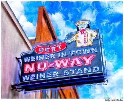 Nu-Way Weiners Sign - Macon Georgia Landmark Print by Mark Tisdale