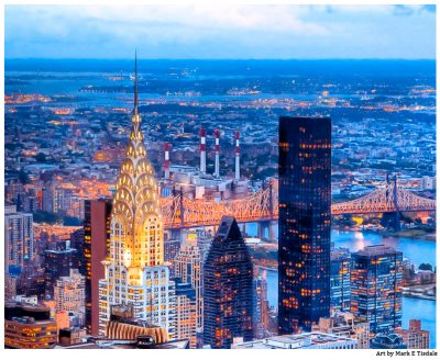 New York Chrysler Building on The Skyline At Night - Print by Mark Tisdale