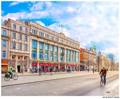 Sunny Morning on O'Connell Street In Dublin Ireland - Print by Mark Tisdale
