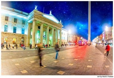 O'Connell Street - Dublin After Dark - Print by Mark Tisdale