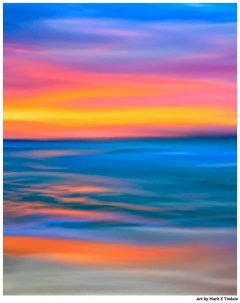 Abstract Art Print of a Pacific Ocean Sunset by Mark Tisdale