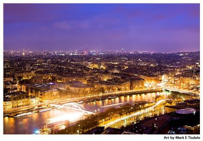 Paris Aerial View - Seen From The Eiffel Tower Overlooking the Seine - Print by Mark Tisdale