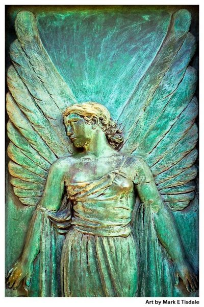Paris Angel in Père-Lachaise cemetery - Art Nouveau design print by Mark Tisdale