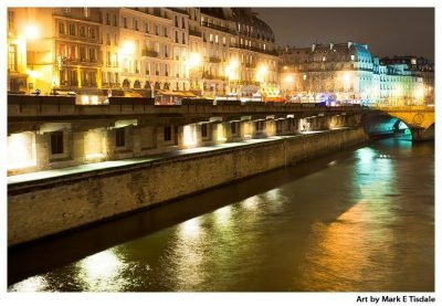 Paris At Night Print by Mark Tisdale - Left Bank Of The Seine Near Notre Dame