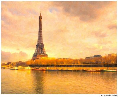 Eiffel Tower - Impressionistic Paris Print by Mark Tisdale - River Seine