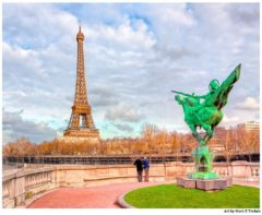 Eiffel Tower and Joan Of Arc Statue - Paris Landmark Print by Mark Tisdale