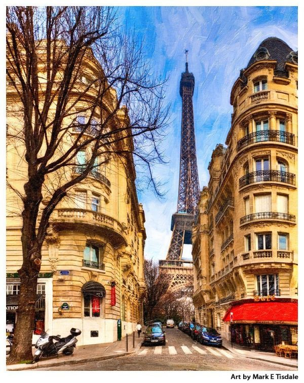 Streets of Paris leading to The Eiffel Tower - Paris Print by Mark Tisdale