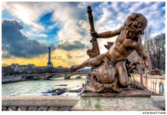 Parisian Cherub on the Pont Alexandre III Bridge over the Seine - Paris Print by Mark Tisdale