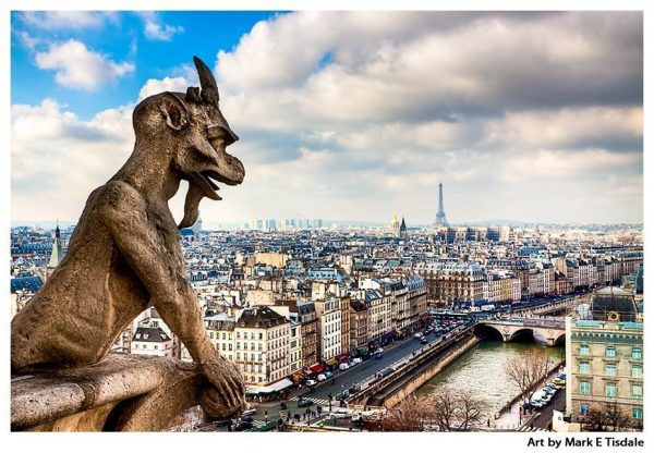 Parisian Gargoyle Overlooking the Skyline - Notre Dame Cathedral Print by Mark Tisdale