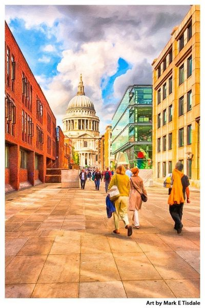 Path to St Paul's Cathedral in London - Architecture Print by Mark Tisdale