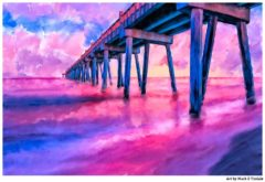 Pensacola Beach Pier Art Print by Mark Tisdale