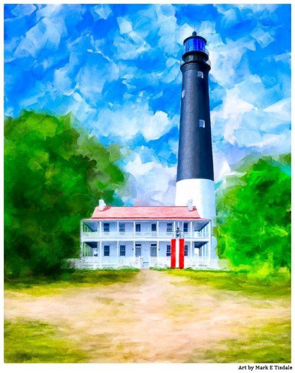 Pensacola Lighthouse Art - Florida Coast Print by Mark Tisdale
