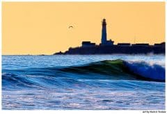 Pigeon Point Lighthouse on the Northern California Coast - Blue and Gold Landscape Print by Mark Tisdale