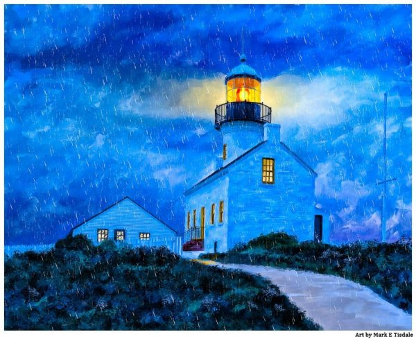 Old Point Loma Lighthouse At Night - San Diego Art Print by Mark Tisdale