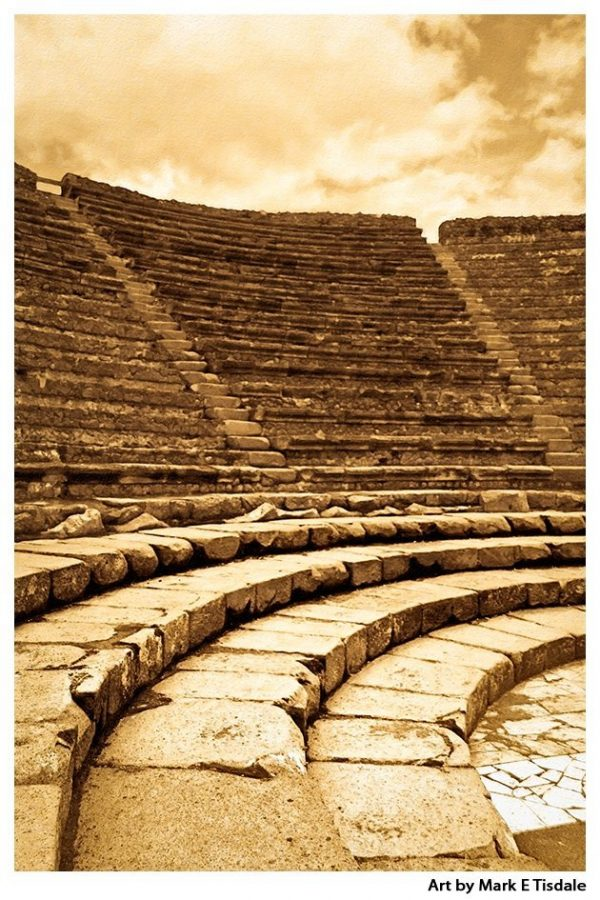 Pompeii - Little Greek Theatre Ruins - Sepia Print by Mark Tisdale