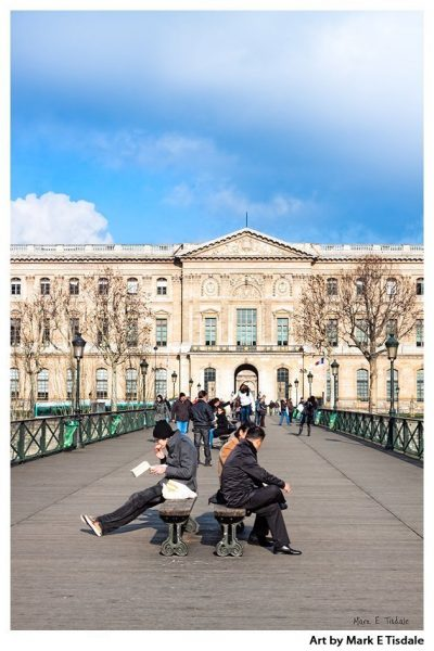 The Pont Des Arts Outside The Louvre - Paris City Scene Print by Mark Tisdale