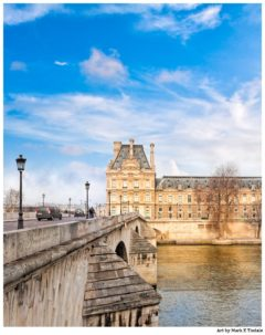 Le Pont Royal And the Louvre - Paris Architecture Print by Mark Tisdale