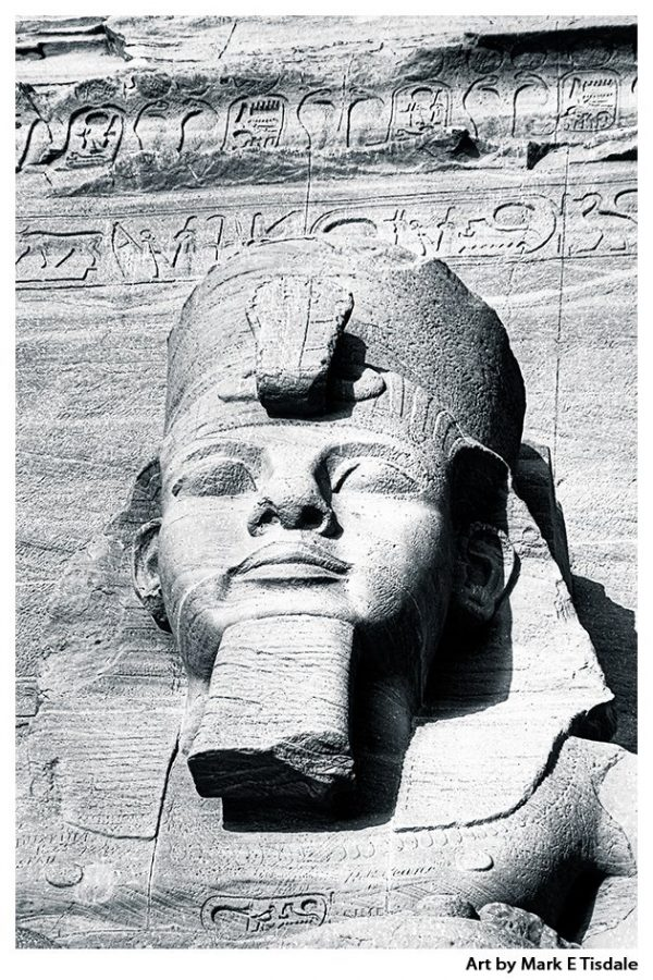 Ramses The Great - Abu Simbel Sculpture - Black and White Print by Mark Tisdale