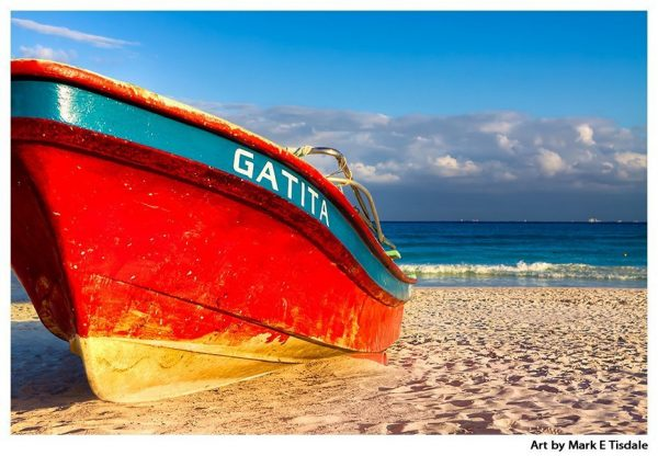 Red Boat Beached at Playa del Carmen - Mexican Art Print by Mark Tisdale