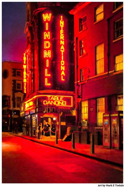 Red Lights of Soho in London - Windmill International Club Print by Mark Tisdale